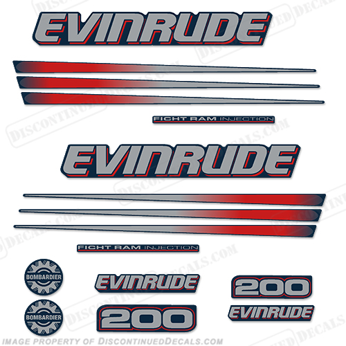 Evinrude 200hp Bombardier Decal Kit - Blue Cowl