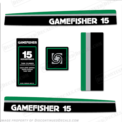 Gamefisher 1977 15hp Outboard Decal Kit