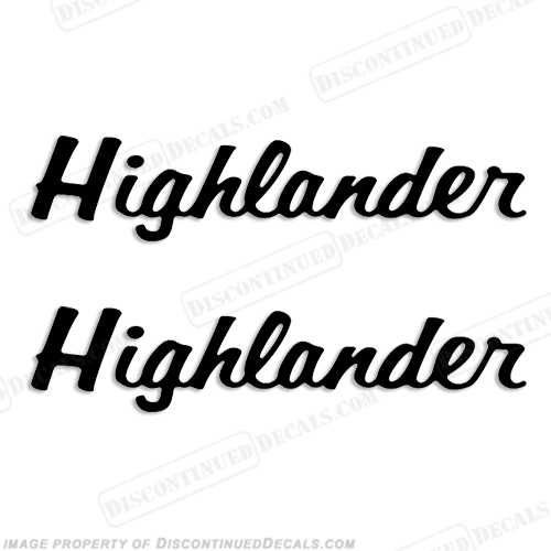 Highlander Boat Trailer Decals (Set of 2) - Any Color!