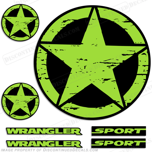 Jeep Wrangler Sport Military Star Decals - Any Color!