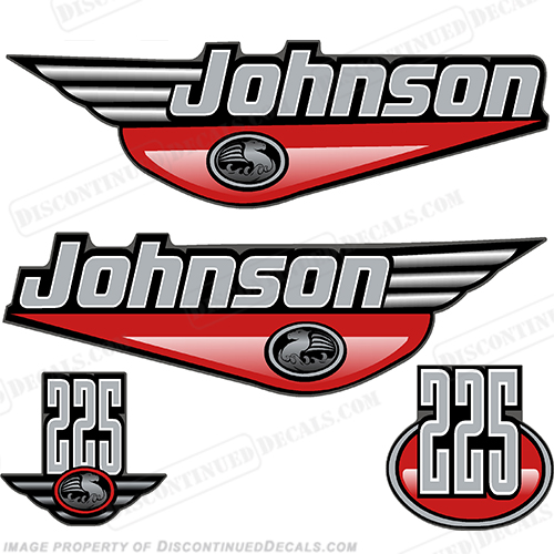 JOHNSON 225 HP DECALS - Any Color Johnson, Ocean Pro, pro, 225hp, 225, hp, 225 hp, ocean, pro