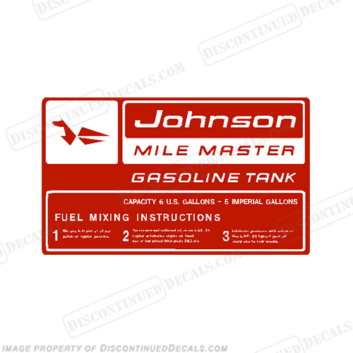 Johnson 1959 6 Gallon Gas Tank Decal