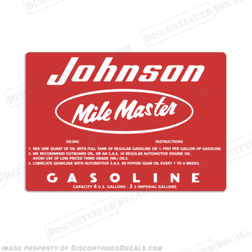Johnson 1957 4 Gallon Gas Tank Decal