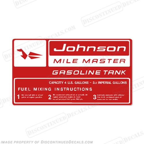 Johnson 1959 4 Gallon Gas Tank Decal