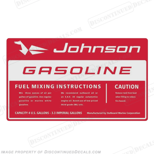 Johnson 1964 4 Gallon Gas Tank Decal