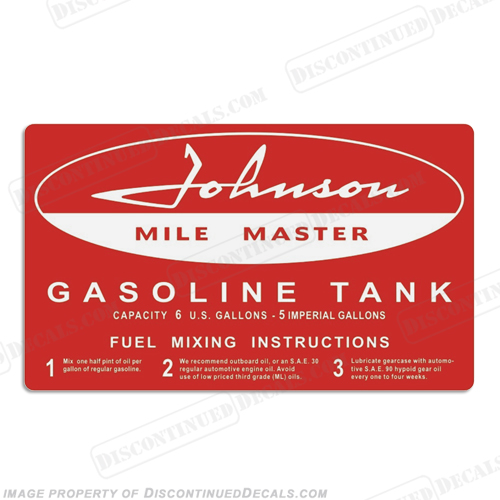Johnson 1958 6 Gallon Gas Tank Decal