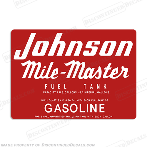 Johnson 1953-1955 4 Gallon Gas Tank Decal