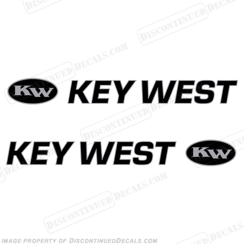 Key West 1720 Boat Decals (Set of 2) - Black/Silver