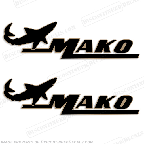 Mako Marine Boat Decals (Set of 2) Black/Gold