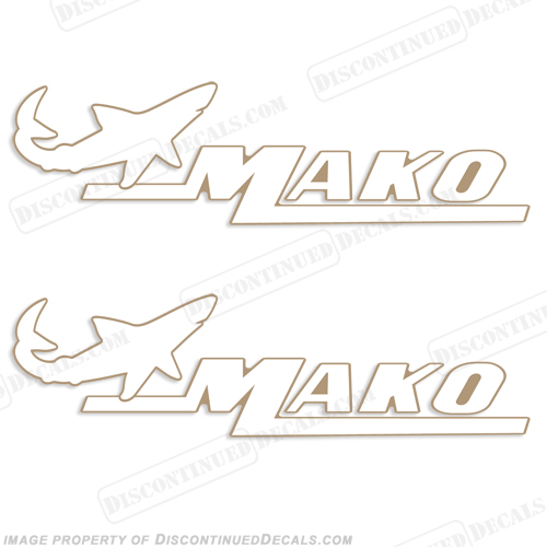 Mako Marine Boat Decals (Set of 2) White/Gold