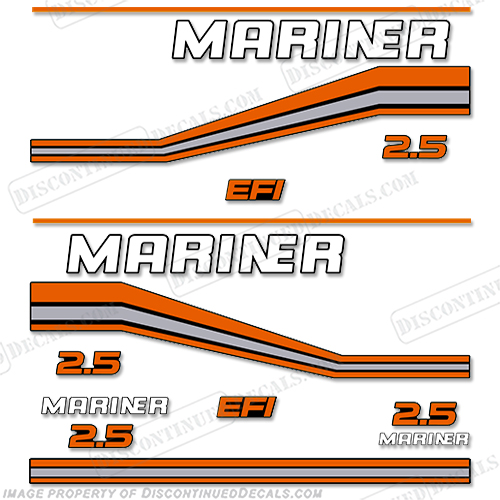 Mariner 2.5L Performance EFI Decal Kit 1990-1997 (Orange) 2.5, 1990, 1991, 1992, 1993, 1994, 1995, 1996, 1997, 92, 91, 90, 93, 94, 95, 96, 97