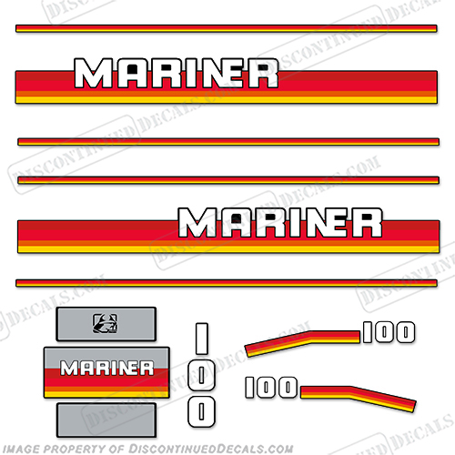 Mariner 100hp Decal Kit - 1990s  Mariner, decal, sticker, motor, outboard, cowl, engine, 100hp, 100, one, hundred, horsepower, kit, set, 1990, 1991, 1992, 19923, 1994, 1995, 1996, 1997, 1998, 1999,
