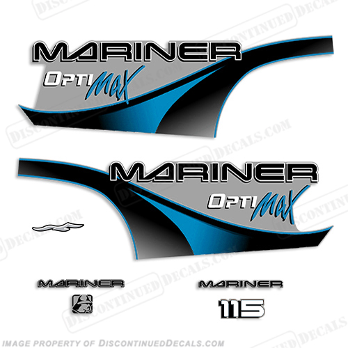 Mariner 115hp Optimax Decal Kit - 2000 (Blue) 804684A00, 115 hp. mariner 115 hp