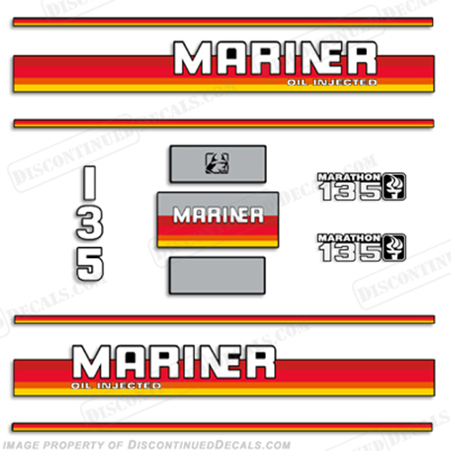 Mariner Marathon 135hp Decal Kit - 1990s