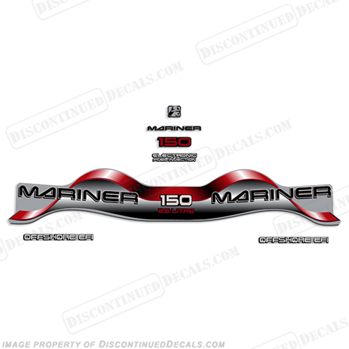 "Mariner 150hp 2.5 Liter ""Offshore EFI"" Decal Kit - Red 150 hp"