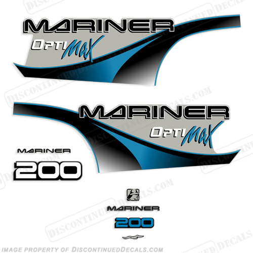 Mariner 200hp Optimax Decal Kit - 2000 (Blue) 200 hp