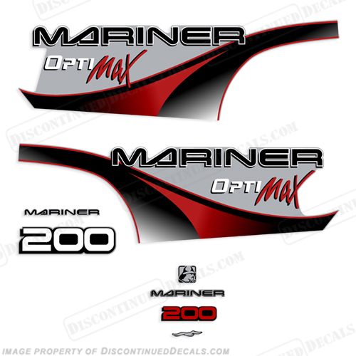 Mariner 200hp Optimax Decal Kit - 2000 (Red) 200 hp