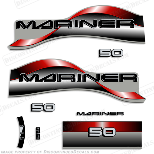 Mariner 50hp Decal Kit - 1996 - 1997 - Red