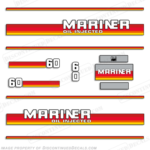Mariner 1984 - 1990 60hp Decal Kit