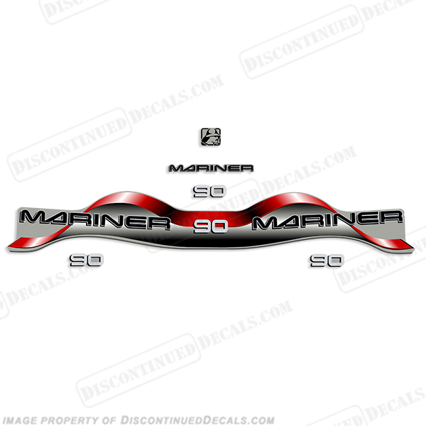Mariner 90hp Decal Kit - Red