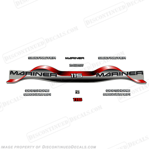 Mariner 115hp Decal Kit - Red