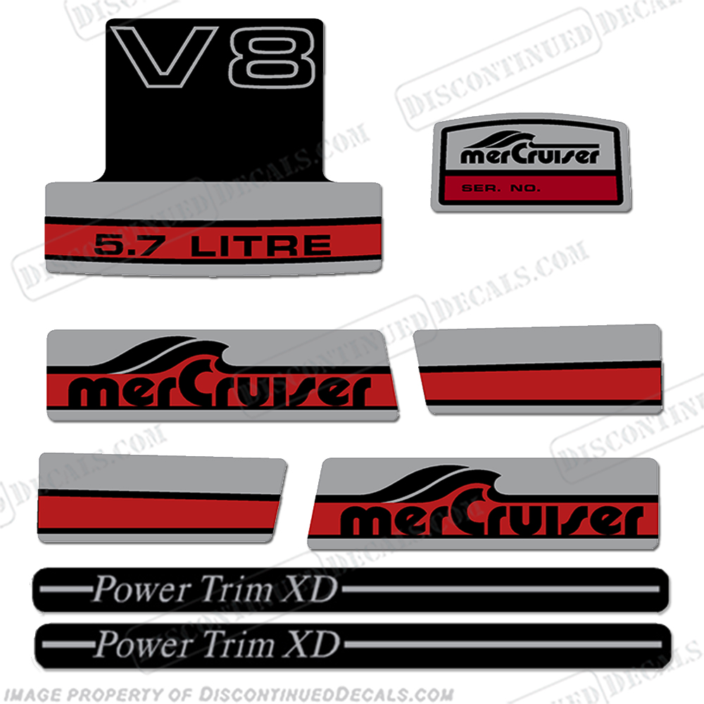 "Mercruiser 5.7 Litre ""V8"" Decal Kit 350, 300, cubic inch"