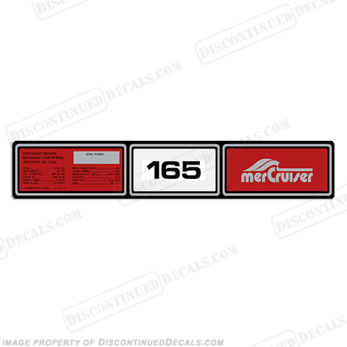 Mercruiser 1982-1989 165hp Valve Cover Decals 1982, 1983, 1984, 1985, 1986, 1987, 1988, 1989, 165 hp, rocker cover decal