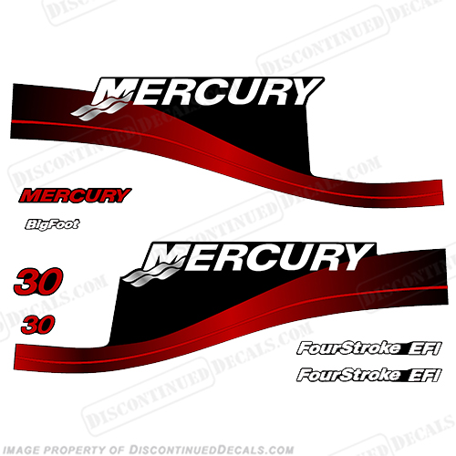 Mercury 25hp Fourstroke Bigfoot 2005 Style Outboard Decal Kit 25 motor decals