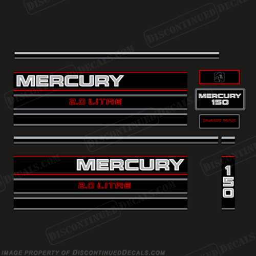 Mercury 150hp 2.0 Litre BlackMax Decal Kit - 1995  Mercury, 150hp, BlackMax, 2.0, Litre Decal Kit, - 1995, 1990, 90, 90s, Black Max, liter, litre, 150, Black, Max, 1994, 1996