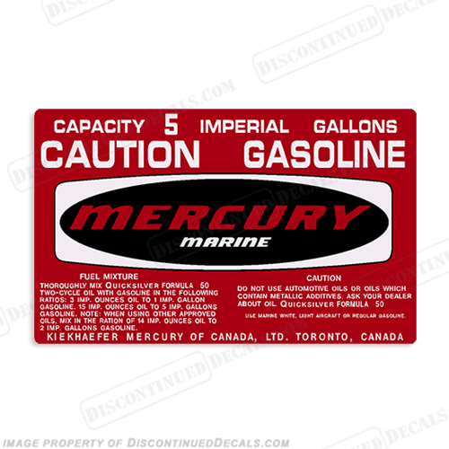 Mercury 1973-1978 5 Gallon Gas Tank Decal