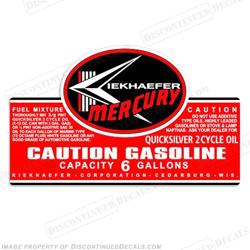 Mercury 1957-1963 6 Gallon Gas Tank Decal