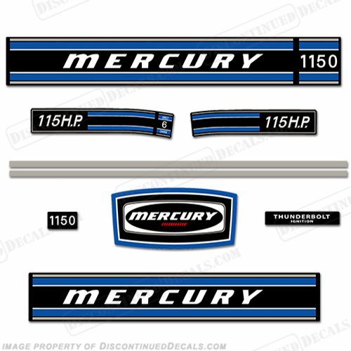 Mercury 1973 85hp Outboard Decal Kit Reproduction Decals In Stock!