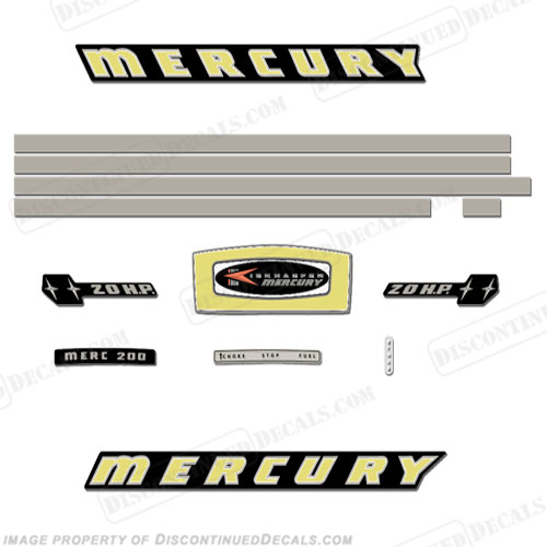 Reproduction Decals In Stock! Mercury 1969 65hp Outboard Decal Kit