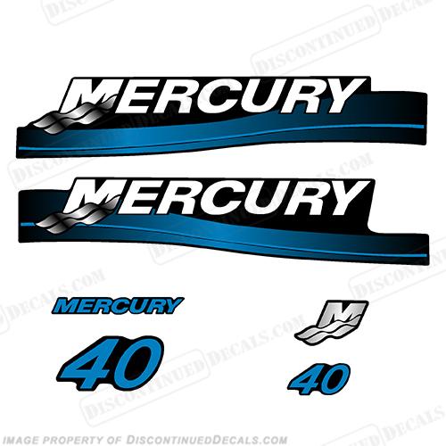 in Stock! Mercury 2000-2001 40hp 2-Stroke Outboard Decal Kit w// Oil Window