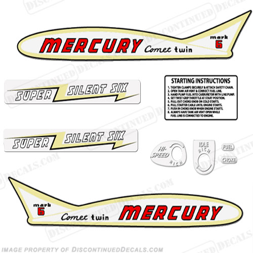 Mercury 1955 6HP Outboard Engine Decals
