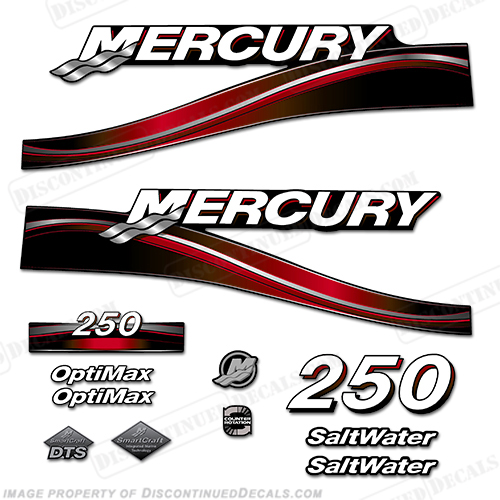 Mercury 150hp Optimax Saltwater Series Outboard Decal Kit 1999-2004 RED