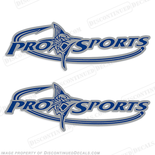 Pro Sports Logo Decal - Silver/Blue prosport, prosports