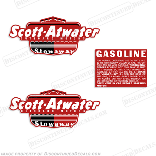 Scott Atwater Gasoline Fuel Gas Tank Stowaway 1950 Decals