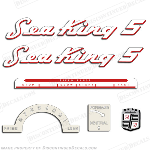 Sea King 1953-1955 5HP Decals - Red Outline