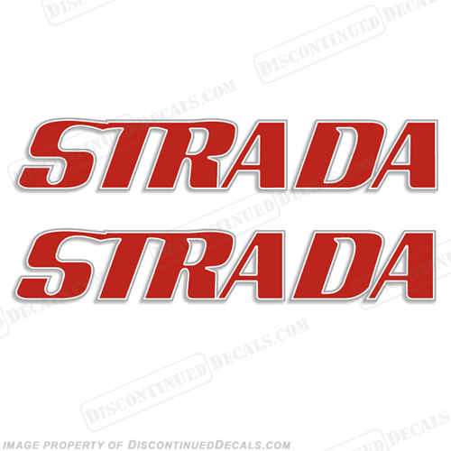 Strada Boat Logo Decals - Red/White/Silver