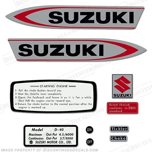 Suzuki 4.5hp (D40) Outboard Decal Kit 1966 - 1968