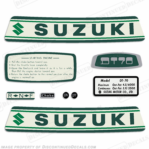 Suzuki 4.5hp DT70 Decal Kit - 1960's - 1970's