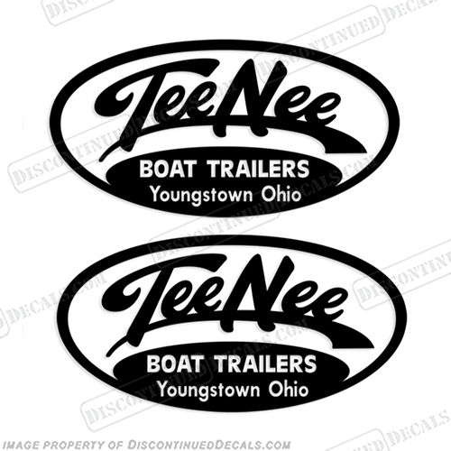 Tee Nee of Youngstown Ohio Boat Trailer Decals (Set of 2) Style 2 - Any Color!  Tee-Nee, tee-nee,