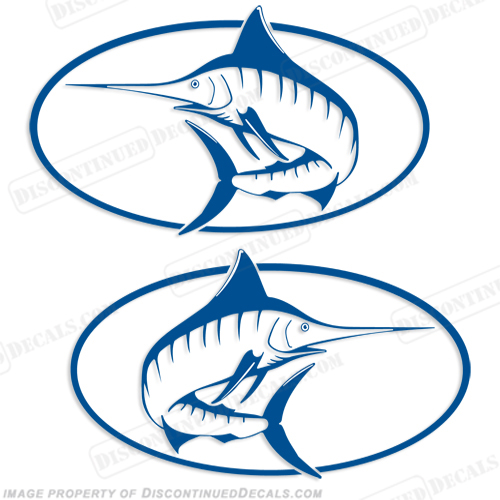 "Trophy Boats ""Marlin"" Logo Decal (Set of 2) - Any Color!"