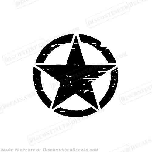 Jeep Distressed Military Star Decal - Any Color!