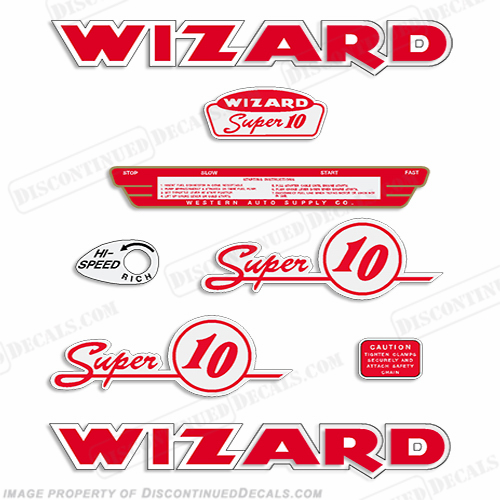 Wizard 10hp (WJ-7) Decal Kit - 1954