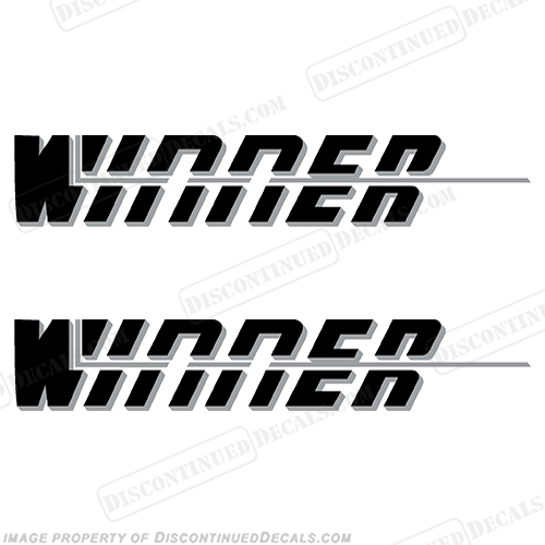 Winner Boat Logo Decals - Silver (Set of 2)